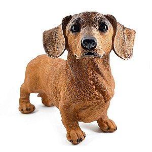 Cachorro Basset Marrom Resina Decoração Realista Jardim Casa