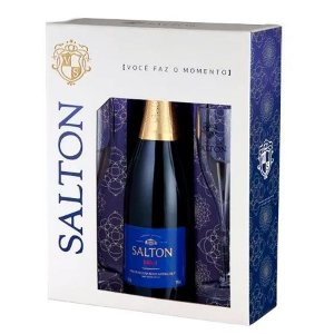 kit Espumante Salton Brut 750 ml + 2 taças