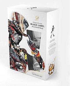 Kit Whisky Johnnie Walker Black Label Limited Edition Design + 2 Tumbler Glasses - 700 ml