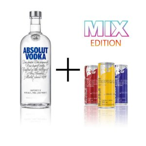 Combo Absolut 1 litro + 3 Red Bull sabores
