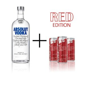 Combo Absolut 1 litro + 3 Red Bull Cranberry