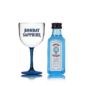 Kit Taça Acrílico + Miniatura Gin Bombay - 50 ml