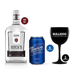 Combo Sextou: Gin Rocks 995ml + 6 Tônicas Antarctica + 2 Taças Bulldog