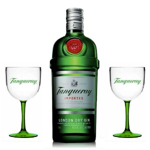 Combo Super Trio Em Casa: Gin Tanqueray 750ml + 2 Taças Exclusivas de Acrílico