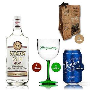 Mega Combo: Gin Seager's - 980ml  + 4 Tônicas Antarctica - 350 ml + Especiarias BeGin + 2 Taças Bicolor
