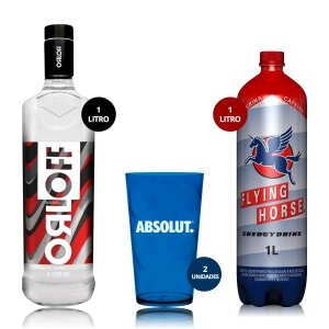 COMBO EMERGENCIAL: VODKA ORLOFF 1 LITRO + 2 COPOS ABSOLUT + FLYING HORSE 1 LITRO