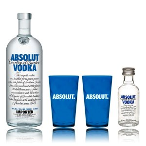 Kit Absolut Vodka 1L + 2 Copos Personalizados + Miniatura