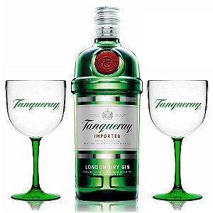 Mega Combo Trio Em Casa: Gin Tanqueray 1L + 2 Taças Bicolor
