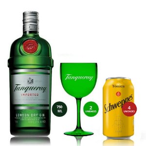 Combo Tanqueray 750 ml + 4 Tônicas + 2 Taças Verdes