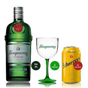 Combo Tanqueray 750 ml + 4 Tônicas + 2 Taças Bicolor