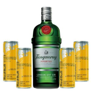 Combo Gin Tanqueray 750ml + 4 Red Bull Tropical