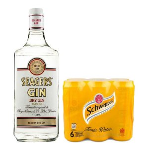 Combo Gin Seager's - 1L + 6 Tônicas Schweppes - 350ml