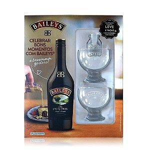 Kit Licor Baileys Irish Cream 750ml com 2 Taças e 1 Leiterinha