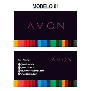 Cartão de Visita Avon - Tamanho 9x5cm - Papel Couchê 250g - Verniz Total Frente
