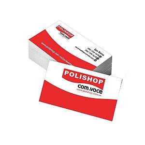 Cartão de Visita Polishop - Tamanho 9x5cm - Papel Couchê 250g - Verniz Total Frente