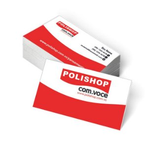 1.000 Cartão de Visita Polishop - Tamanho 9x5cm - Frente e Verso - Papel Couchê 250g - Verniz Total Frente