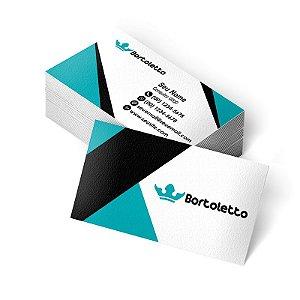 1.000 Cartão de Visita Bortoletto - Tamanho 9x5cm - Frente e Verso - Verniz Total Frente
