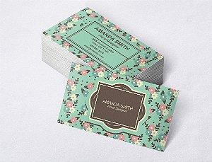 1.000 Cartão de Visita - Modelo 21 - Tamanho 9x5cm - Frente e Verso - Papel Couchê 250g - Verniz Total Frente