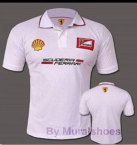Camisa Polo Ferrari - branca