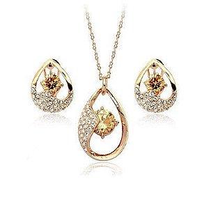 conjunto  semijoia colar e brincos banhado a ouro 18k e cristais austriacos