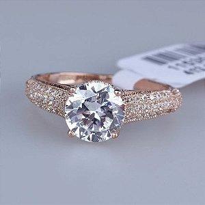 anel solitário feminino com pedra zirconia