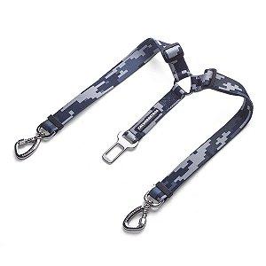 Cinto De Segurança Duplo para Cachorros Camuflado Cinza