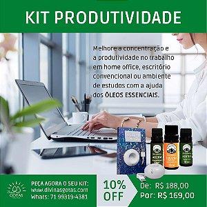 Kit Produtividade - 3 Óleos Essencias + Aromatizador Elétrico USB