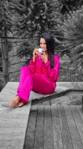 Pijama manga longa em cetim
