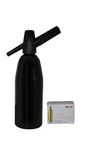 Garrafa Soda Aluminio 1l Preta com 10 Cápsulas Best Whip