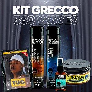 KIT GRECCO 360WAVES 1 SHAMPOO + 1 CONDICIONADOR + 1 POMADA + 1 ÓLEO FINALIZADOR + 1 TOUCA DUREG GRÁTIS