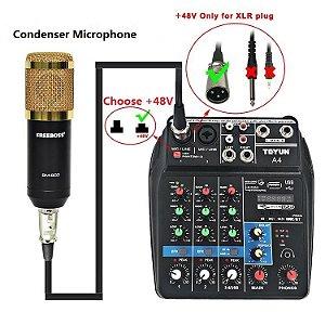 Consola de mistura de som com Bluetooth Record 4 canais