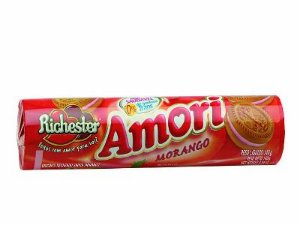 Biscoito Richester Amori Recheado de Morango 140g