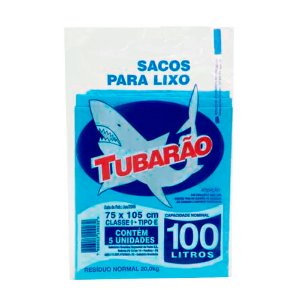 Saco de Lixo Tubarão 100 litros 5un