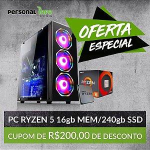 PC AMD Ryzen 3400G + 16GB RAm + 240GB + Placa de Video Vega 11 + Personalização Personal INFO