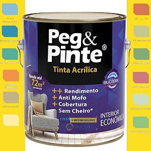 TINTA ACRÍLICA PEG & PINTE EUCATEX 3,6 litros CORES - www.lojadoimpermeabilizante.com.br