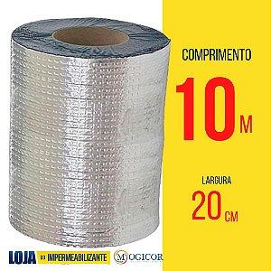 Fita Adesiva Aluminizada Manta Asfáltica 20cm x 10m - www.lojadoimpermeabilizante.com.br
