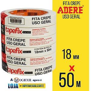 Fita Crepe Adere Tapefix Uso Geral 18mm X 50m 1UN - www.lojadoimpermeabilizante.com.br