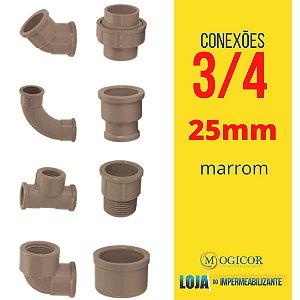 Kit 5 Joelho Cotovelo Luva Bucha Tê Cap Adaptador 3/4 25mm - www.lojadoimpermeabilizante.com.br