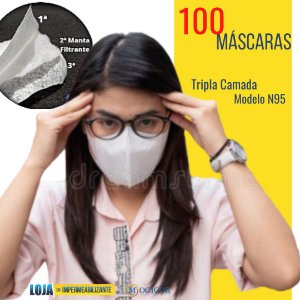 100 Máscaras Respiratórias Tripla Proteção Lavável Design N95 - www.lojadoimpermeabilizante.com.br
