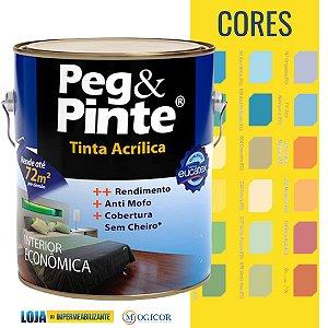 Tinta Acrílica Eucatex Peg e Pinte 3,6l lata Azul Cores - www.lojadoimpermeabilizante.com.br
