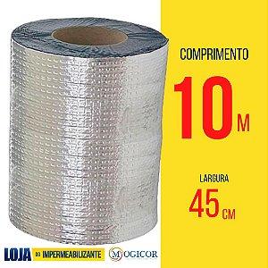 Fita Adesiva Aluminizada Manta Asfáltica 45cm x 10m Vedatudo - www.lojadoimpermeabilizante.com.br