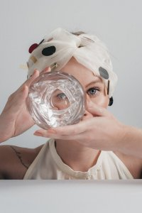 Turbante geométrico- Cristal Branco