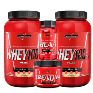 KIT 2X WHEY 100% + CREATINA 150G + BCAA 90CAP - INTEGRALMEDICA