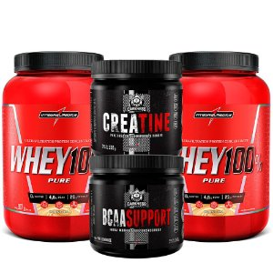 KIT 2X WHEY 100% 900G + 1x BCAA SUPPORT 260G + 1x CREATINA 350G - INTEGRALMEDICA DARKNESS