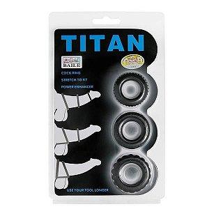 TITAN - Kit com 3 Anéis Penianos de Borracha | Medida Interna: 1,9 cm, 2 cm, 2,2 cm - BI-210148