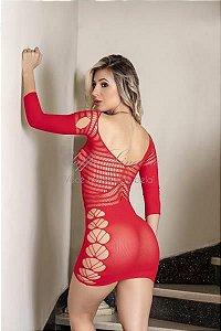 Y1542 - Mini Vestido Sensual com Mangas - Cor: Vermelho | Tamanho: U