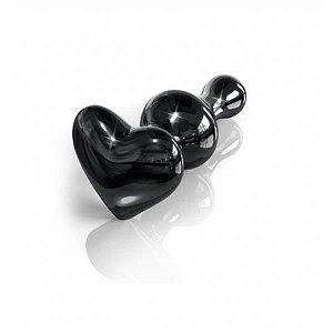 PLUG DE VIDRO 10 CM | Formato: Coração | Cor: Preto GD0022