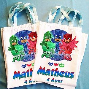 Kit com 10 Bolsinhas Ecobag Sacolinha Personalizadas PJ Masks