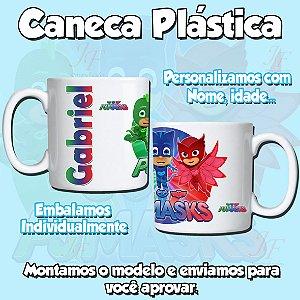 Kit com 10 Canecas Plástica Polímero 350 ml Personalizadas PJ Masks