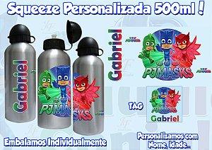 KIt com 05 Squeezes Garrafinha Alumínio 500 ml Personalizadas PJ Masks